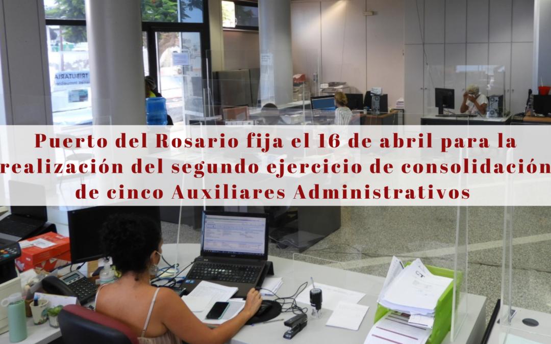 Puerto del Rosario fija el 16 de abril para la realización del segundo ejercicio de consolidación de cinco Auxiliares Administrativos