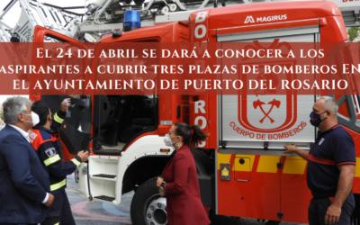 El 24 de abril se dará a conocer a los aspirantes a cubrir tres plazas de bomberos