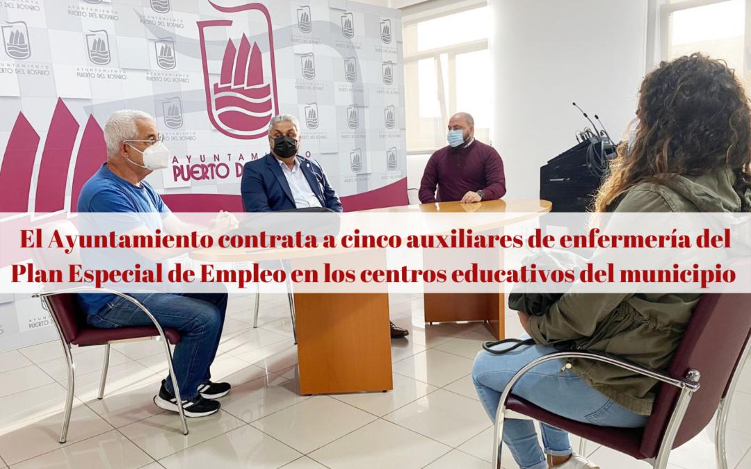 El Ayuntamiento contrata a cinco auxiliares de enfermería del Plan Especial de Empleo en los centros educativos del municipio