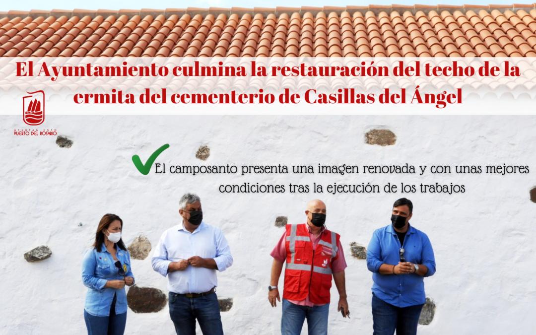 El Ayuntamiento culmina la restauración del techo de la ermita del cementerio de Casillas del Ángel
