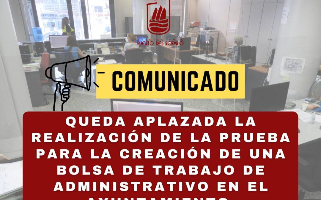 Puerto del Rosario aplaza la realización de la prueba para la creación de una Bolsa de Trabajo de Administrativo en el Ayuntamiento