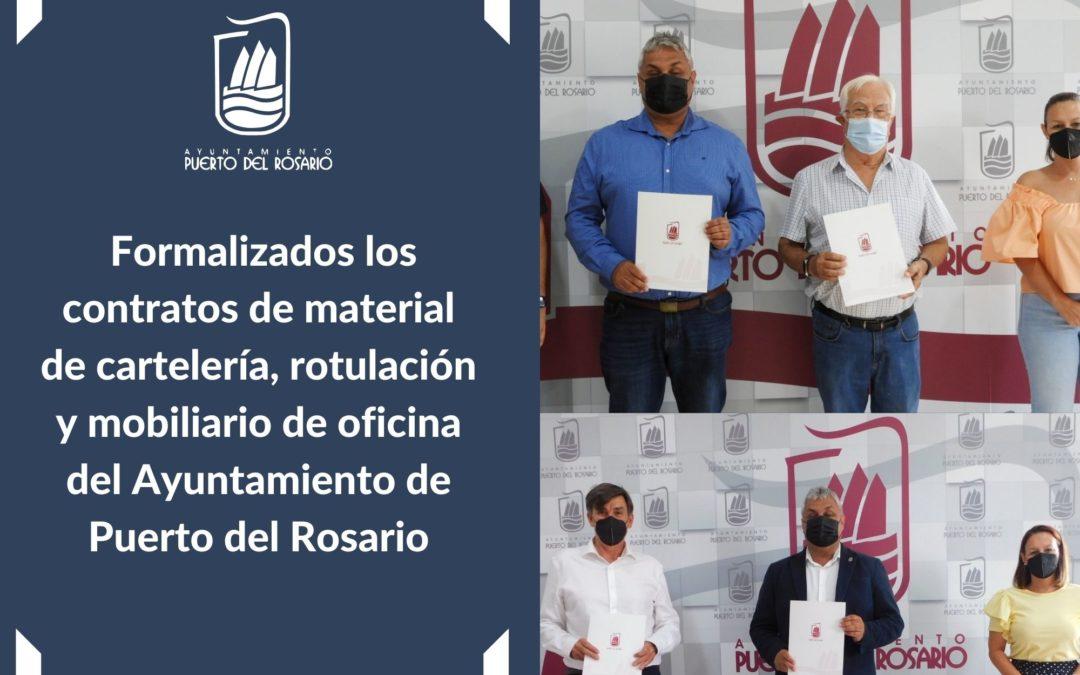 Formalizados los contratos de material de cartelería, rotulación y mobiliario de oficina del Ayuntamiento de Puerto del Rosario