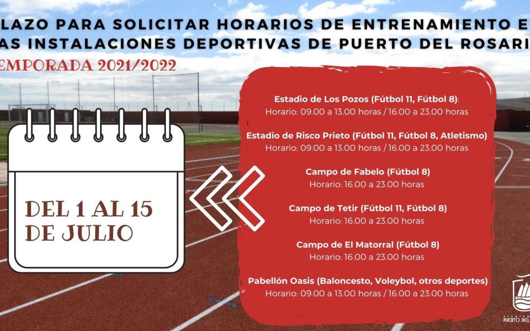 Abierto el plazo para solicitar horarios de entrenamiento en las instalaciones deportivas de Puerto del Rosario para la temporada 2021-2022