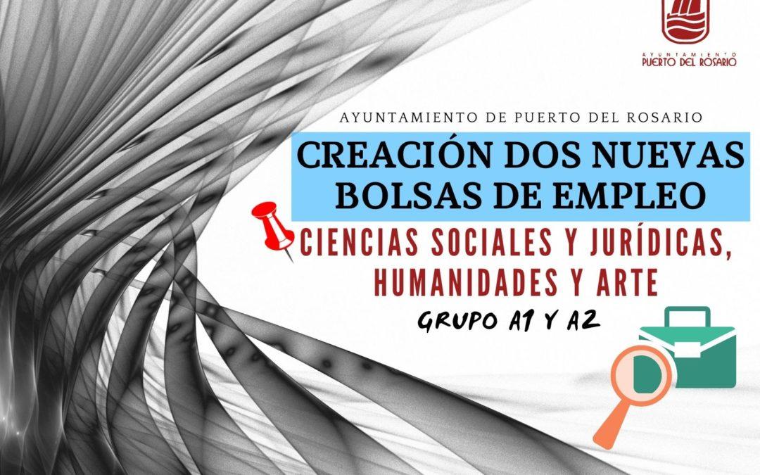 Puerto del Rosario convoca dos bolsas de trabajo para la selección de personal en Ciencias Sociales y Jurídicas, Humanidades y Arte