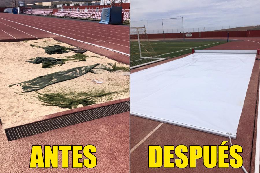 La pista de atletismo de Risco Prieto dispone de una nueva lona para cubrir el foso de salto de longitud