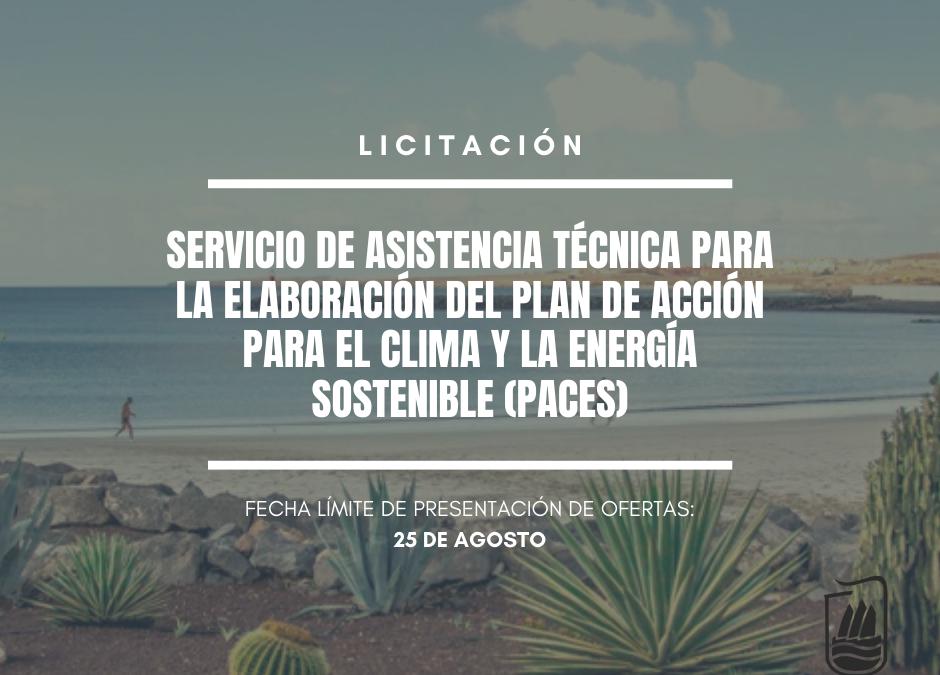 A licitación el servicio de asistencia técnica para la elaboración del plan de acción para el clima y la energía sostenible (PACES) de Puerto del Rosario