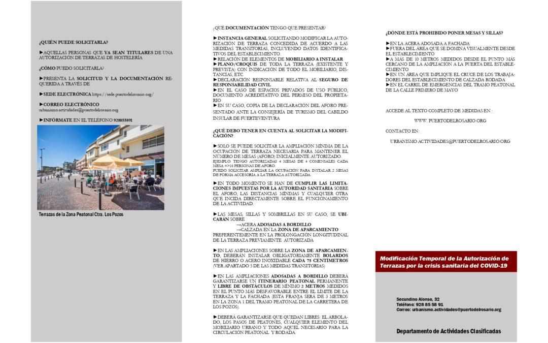 Modificación temporal de autorización de terrazas de hostelería afectadas por las limitaciones en nivel 3