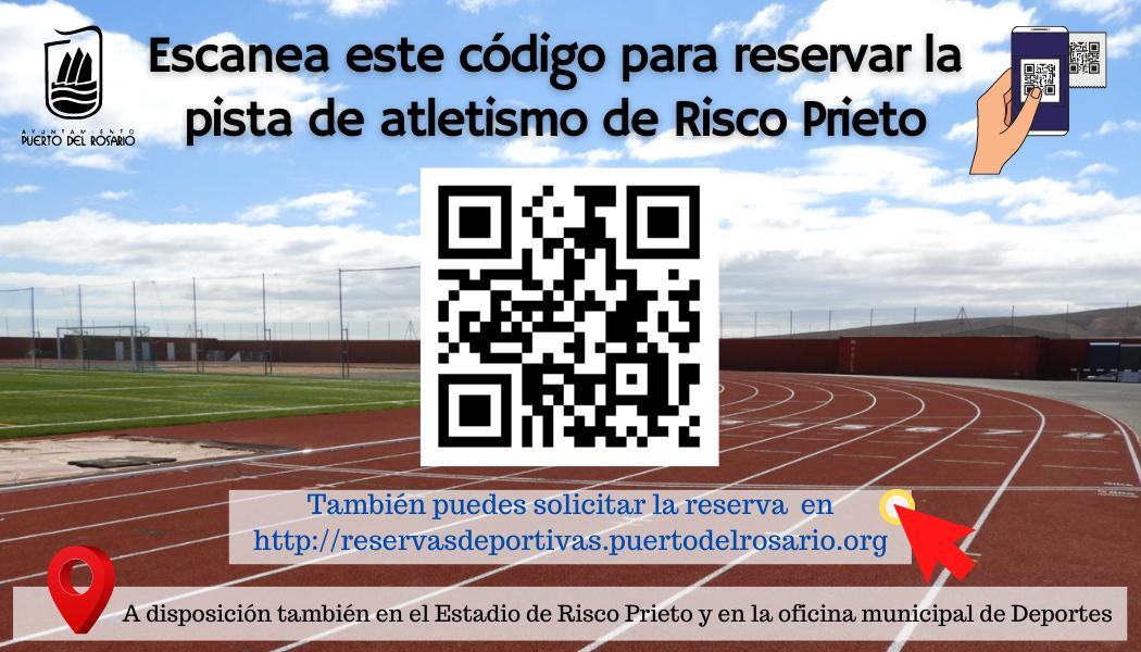 La reserva de la pista de atletismo de Risco Prieto debe gestionarse mediante acceso telemático con código QR