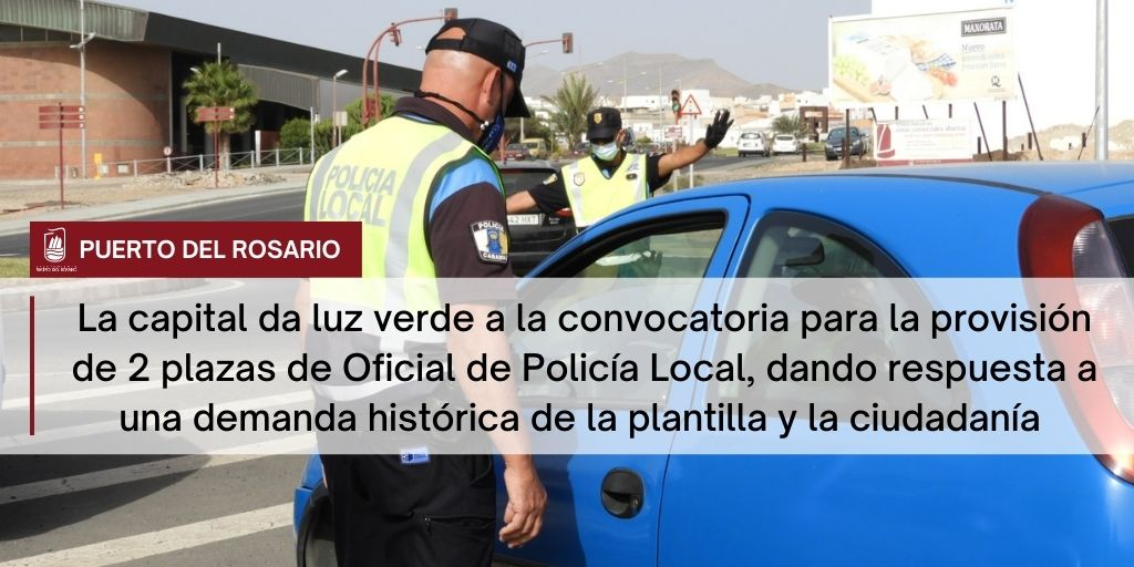 La capital da luz verde a la convocatoria para la provisión de dos plazas de Oficial de Policía Local, dando respuesta a una demanda histórica de la plantilla y la ciudadanía