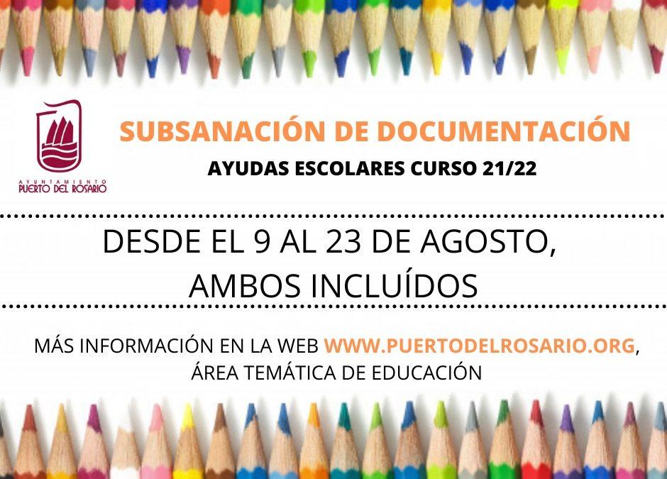 Abierto el plazo de subsanación de documentación relativa a la convocatoria de las ayudas escolares 2021/2022 de Puerto del Rosario