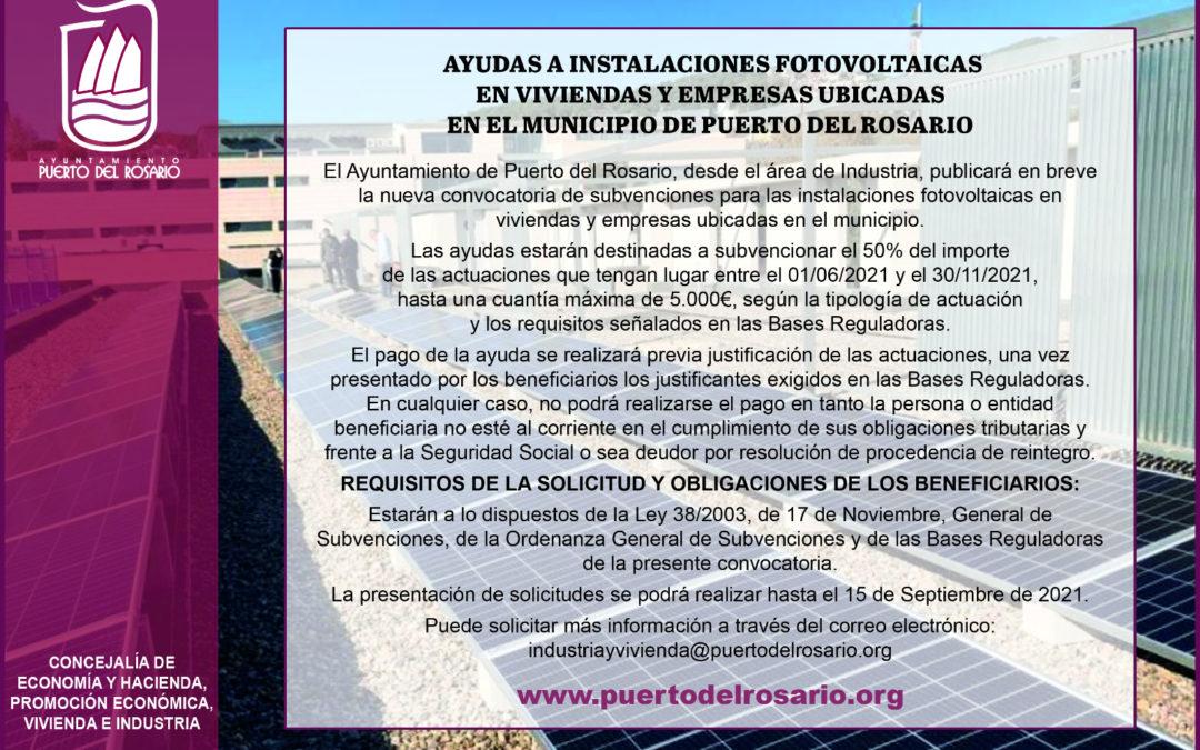 Puerto del Rosario aprueba la convocatoria de subvenciones para la instalación de fotovoltaicas en viviendas y empresas del municipio