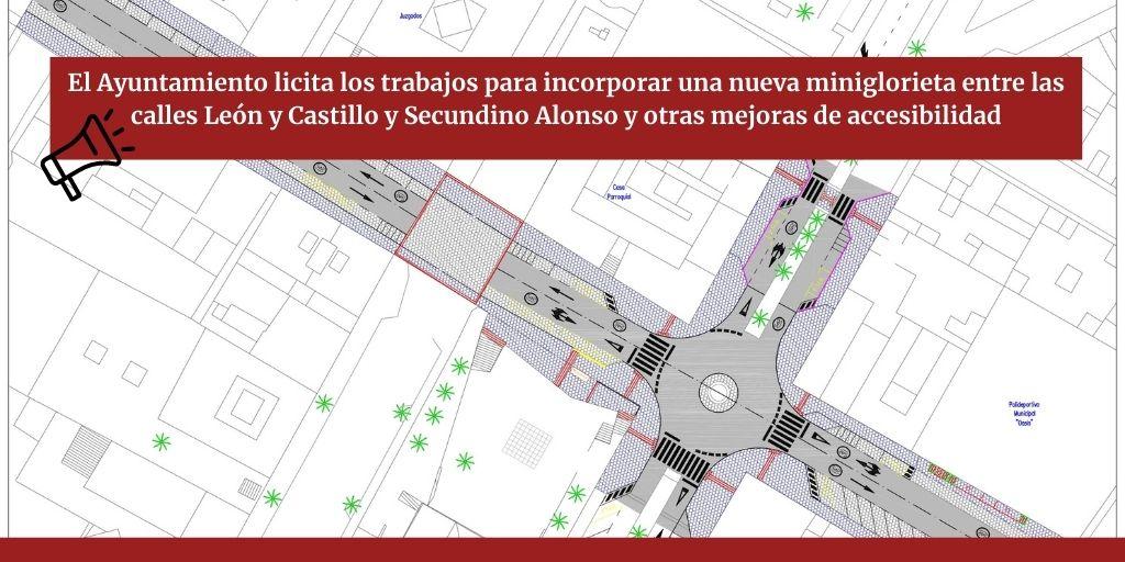 El Ayuntamiento licita los trabajos para incorporar una nueva miniglorieta entre las calles León y Castillo y Secundino Alonso