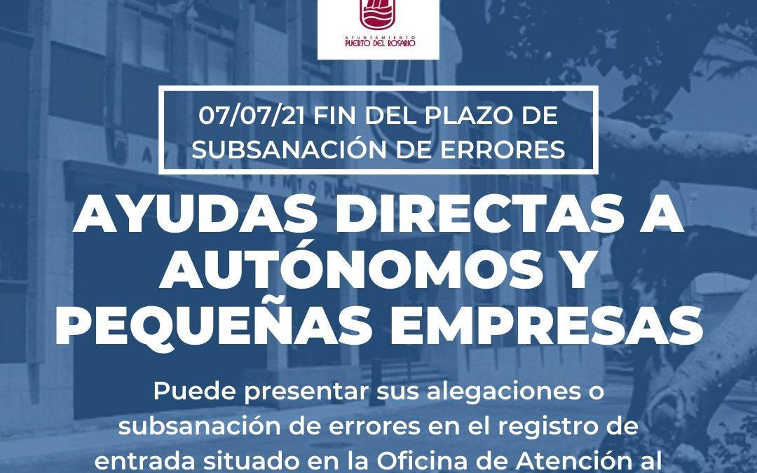 Este 7 de julio finaliza el plazo de subsanación de errores en las solicitudes de ayudas directas a autónomos y pequeñas empresas