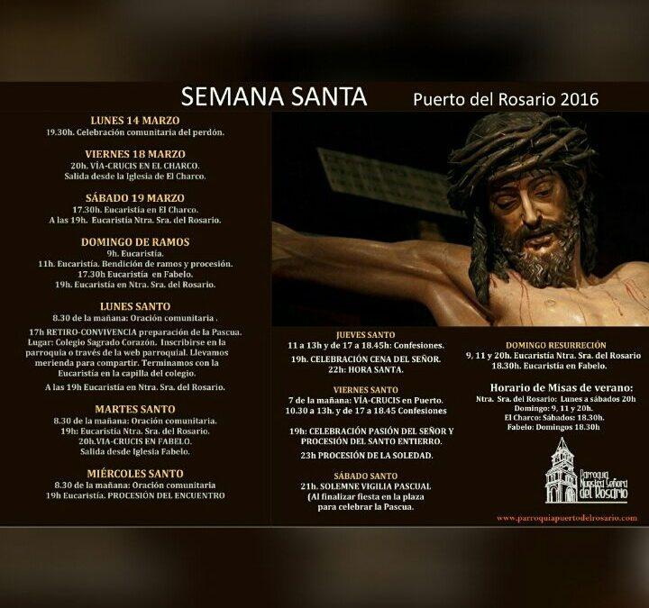 Programa de Actos religiosos de la Semana Santa 2016