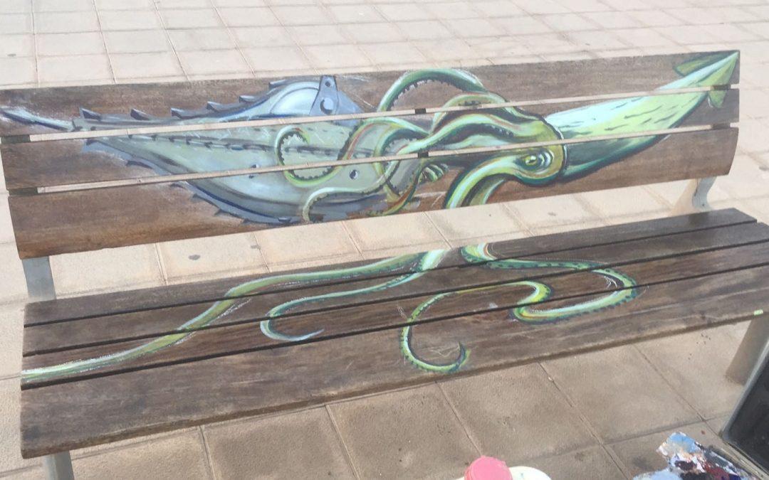 Bancos con arte en la playa de Los Pozos de Puerto del Rosario