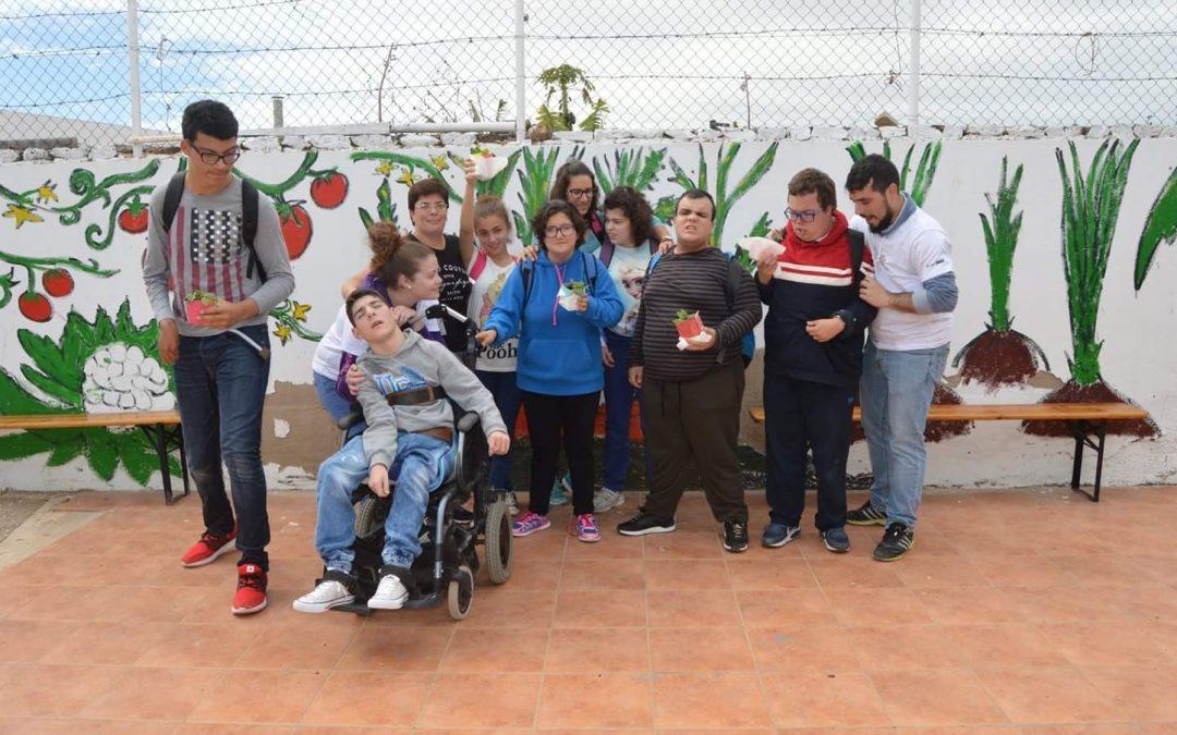 Los alumnos del Aula en Clave del IES San Diego, en los Huertos Urbanos