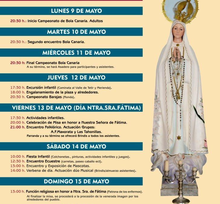 Fiestas en La Asomada en honor a Ntra. Sra. de Fátima