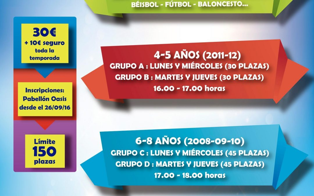 Inscripción para las Escuelas Deportivas municipales 2016/17