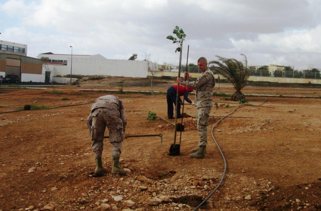 El Regimiento Soria materializa una plantación en el Barrio del Charco